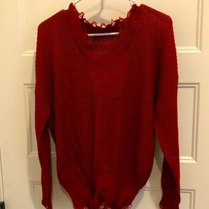 Sweaters - Red distressed sweater